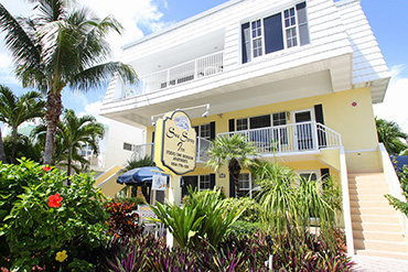 Sea Spray Inn. This is a picture of the garden-side building facade, and garden.