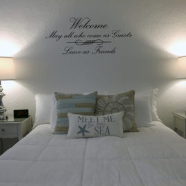 Sea Spray Inn. This is a picture of the pool-side ADA studio unit bed